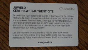 certificat bijoux